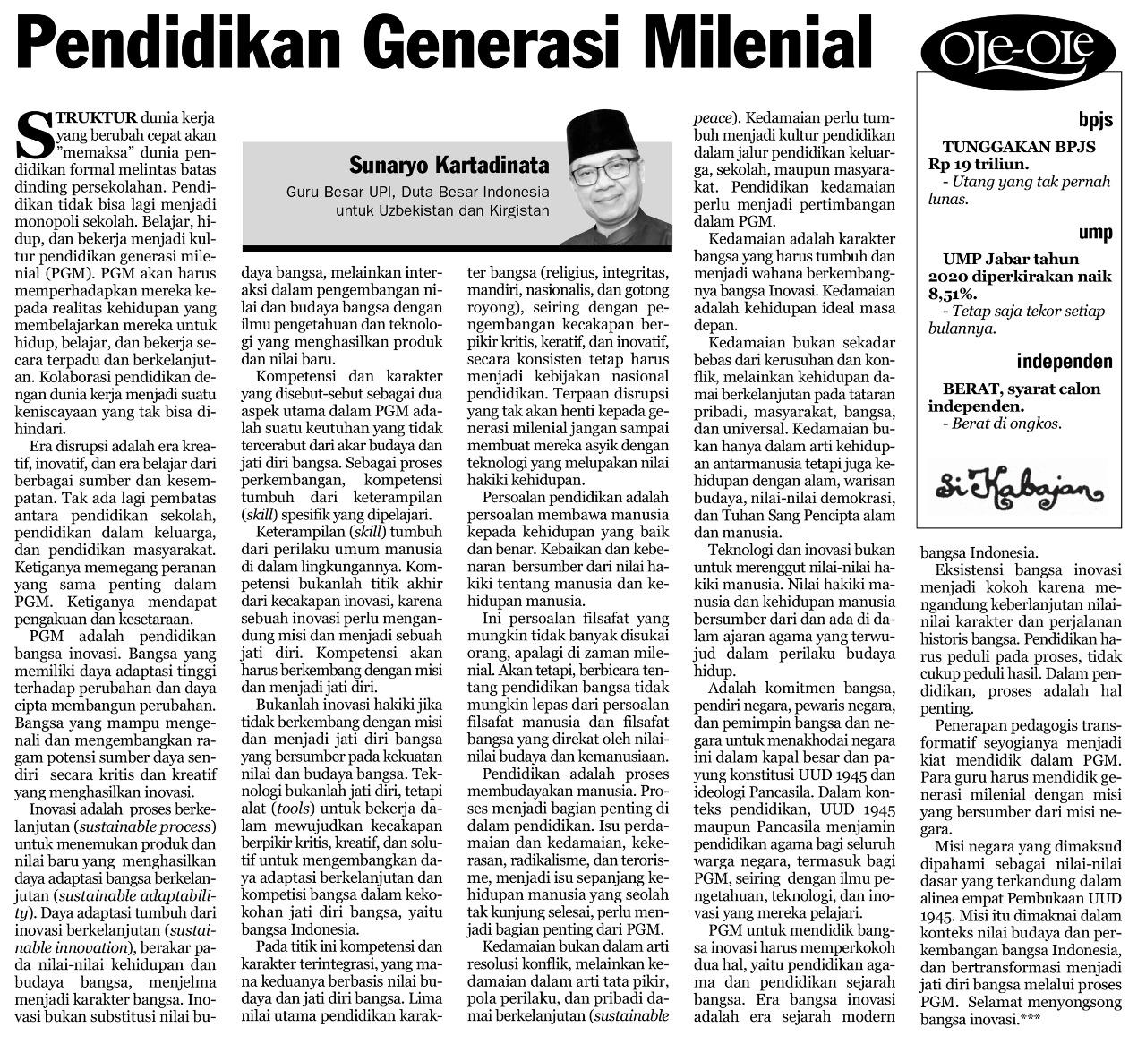 Pendidikan Generasi Milenial, Opini Ketua Umum ISPI